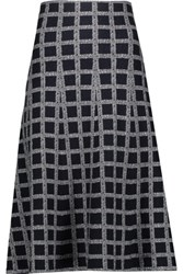 Derek Lam 10 Crosby By Flared Checked Wool Blend Midi Skirt Midnight Blue