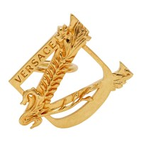 Versace Gold Oversized Medusa Safety Pin Ring