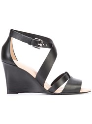 Tod's Wedge Sandals Women Leather 40 Black