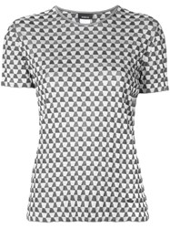 Akris Patterned Crew Neck T Shirt Silver