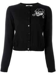 Moschino Cropped Skeleton Cardigan Black