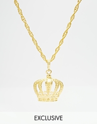 Reclaimed Vintage Crown Necklace Gold