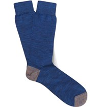 Paul Smith Melange Cotton Blend Socks Blue