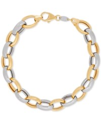 Macy's Two Tone Open Link Bracelet In 14K Gold And Sterling Silver Two Tone