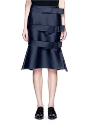 Ms Min Belted Silk Blend Skirt Blue