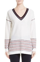 St. John Women's Collection Illusion Stripe Ottoman Knit Sweater