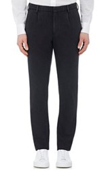 Incotex Men's Flannel Slim Fit Trousers Dark Grey