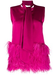 Gianluca Capannolo Faux Feather Trim Top Pink