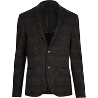 River Island Mens Grey Checked Skinny Cropped Blazer Charcoal