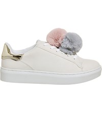 Office Fluffy Pom Pom Trainers White Grey Nude
