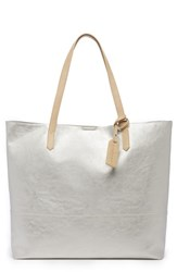 Sole Society Inell Metallic Faux Leather Tote Metallic Silver