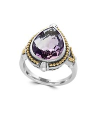 Effy 925 Teardrop Amethyst 18K Yellow Gold And Sterling Silver Ring
