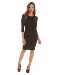 Alexia Admor Rhinestone Accented Ponte Dress Black