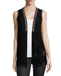 Lamarque Sonia Embroidered Suede Fringe Vest Women's