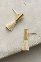 Anthropologie Falling Star Tassel Drop Earrings Gold