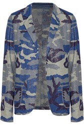 Majestic Metallic Printed Linen Blazer Blue
