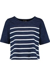 Ag Jeans Striped Cotton Top Navy