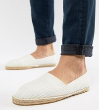 Asos Design Wide Fit Espadrilles In White With Texture