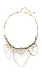 Alexis Bittar Abstract Petal Bib Necklace Polished Silver