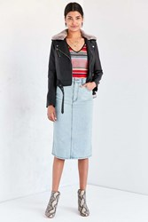 Silence And Noise Bijou Denim Midi Skirt Light Blue