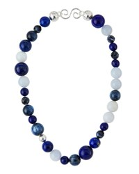Gurhan Multi Stone Statement Beaded Necklace Silver Gol