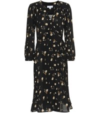 Velvet Jasmine Floral Wrap Dress Black