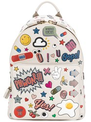 Anya Hindmarch All Over Stickers Mini Backpack Bos Taurus Nude Neutrals