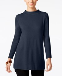 Alfani Mock Neck High Low Sweater Only At Macy's Navy Nautical