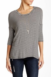 Pink Owl Striped Dolman Hi Lo Tee Gray