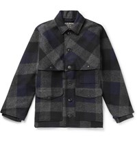 Filson Oversized Checked Brushed Wool Flannel Jacket Blue