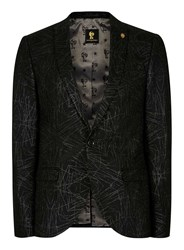 Topman Noose And Monkey Black And Silver Glitter Scribble Blazer