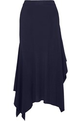 Alexander Wang Asymmetric Ribbed Merino Wool Midi Skirt Midnight Blue
