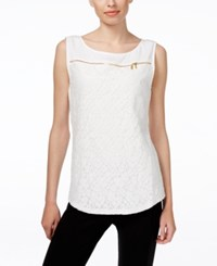Calvin Klein Sleeveless Lace Front Zipper Top White