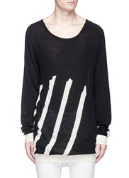 Haider Ackermann Stripe Cotton Cashmere Sweater Black