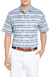 Peter Millar Men's Johnson Stripe Polo White Sailing Blue