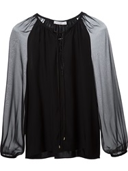 Altuzarra Sheer Peasant Blouse Black