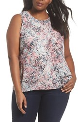 Sejour Plus Size Women's Ruffle Front Tank Pink Ivory Arles Print