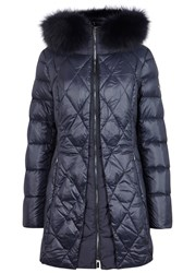 Diego M Navy Fur Trimmed Shell Coat Blue