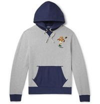 Polo Ralph Lauren Logo Embroidered Colour Block Fleece Back Cotton Jersey Hoodie Gray