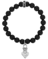 King Baby Studio Onyx 8Mm Bead Crown Heart Stretch Bracelet Black