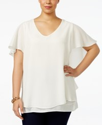 Ny Collection Plus Size Cape Sleeve Chiffon Top White