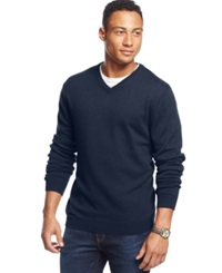 Weatherproof Solid V Neck Sweater Washed Denim