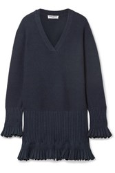 Opening Ceremony Ruffled Pointelle Trimmed Knitted Mini Dress Navy