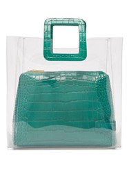 Staud Shirley Pvc And Leather Tote Bag Dark Green