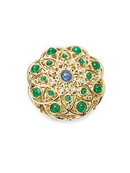Temple St. Clair Diamond Emerald Ruby Sapphire And 18K Yellow Gold Mosaic Brooch