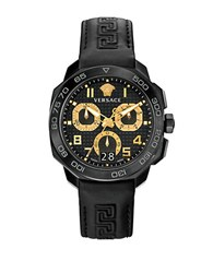 Versace Dylos Black Stainless Steel Rubber Strap Watch