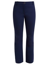 Valentino Mid Rise Wool Blend Flared Trousers Navy