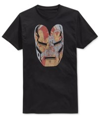 Mighty Fine Men's Iron Man Face Graphic Print T Shirt Black