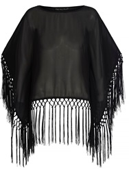 Mela Loves London Fringe Kimono Top Black