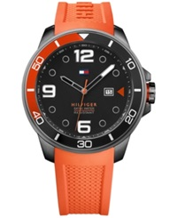 Tommy Hilfiger Men's Cool Sport Orange Rubber Strap Watch 46Mm 1791154